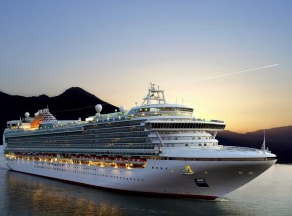 Cruise ship with sunset in background